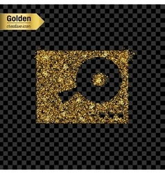 Gold glitter icon of DJ mixer table vector image