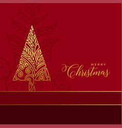 Golden floral christmas tree decoration background vector