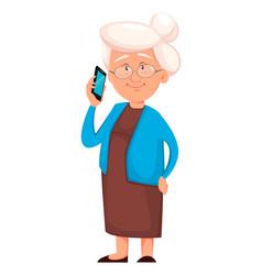 Grandmother holding smartphone vector
