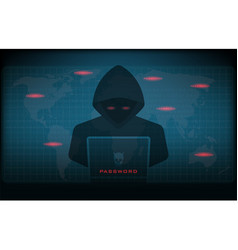 hacker using laptop stealing confidential data vector image