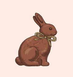 hand drawn chocolate rabbit vector image