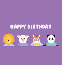 happy birthday cute animals with clothes card vector image