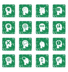 Head logos icons set grunge vector