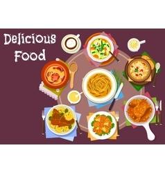 Healthy ceramic pot dishes icon for menu design vector