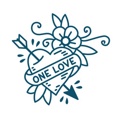 Heart one love in traditional style tattoo vector