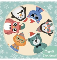 Hipster Fashion Retro Animals and Pets Christmas vector