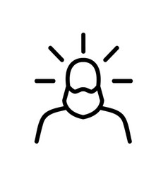 Holy radiant figure saint icon outline vector