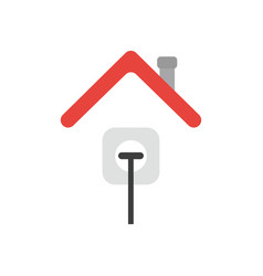Icon concept of plug plugged into outlet under vector