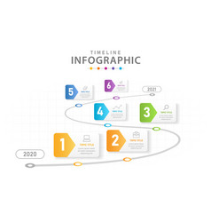 Infographic 6 steps timeline diagram with roadmap vector