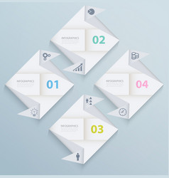 Infographic template with origami paper squares vector