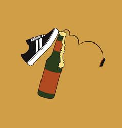 Kicking beer vector