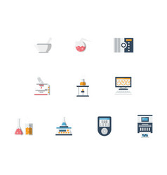 laboratory flat color icons set vector image