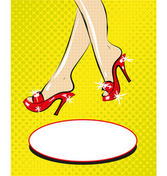 legs of woman in red shoes on heels pop art comic vector image
