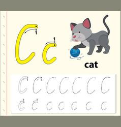 Letter c tracing alphabet worksheets vector
