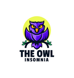 Logo insomnia owl simple mascot style vector