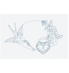 Love theme coloring page old school tattoo signs vector