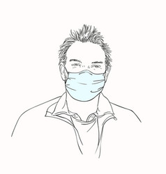man in medical face mask hand drawn portrait vector image