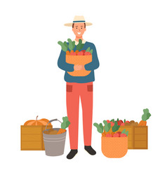 Man standing with basket filled with carrots vector