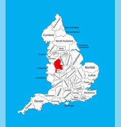 Map staffordshire west midlands united kingdom vector
