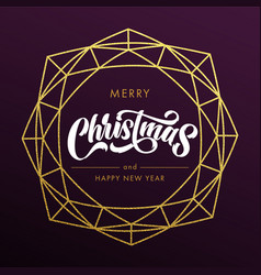 merry christmas happy new year gold glitter vector image