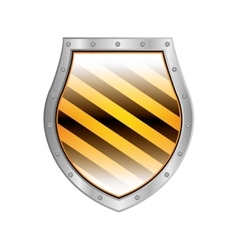Metallic shield with right diagonal stripe vector