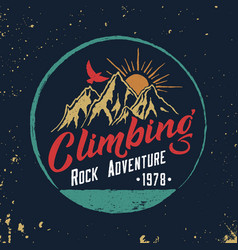 Mountain climbing hand drawn emblem vector