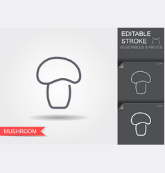 mushroom line icon with editable stroke vector image