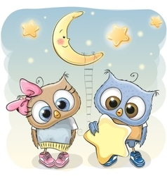Owl Girl and Boy with a star vector