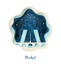 Paper art of madrid origami concept night city vector