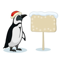 Penguin with Christmas poster vector image