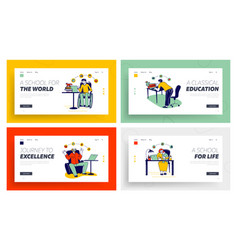 people get online education landing page template vector image