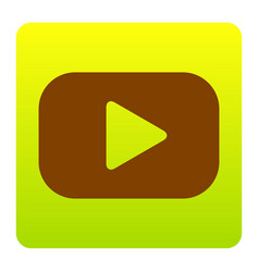 play button sign brown icon at green vector image