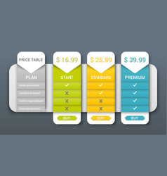 Price table web composition vector