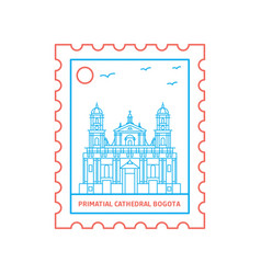 primatial cathedral bogota postage stamp blue and vector image