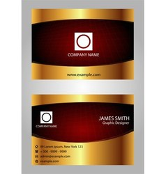 Red and gold modern business card template vector