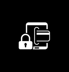 Secure transactions icon flat design vector