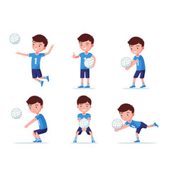 set boy volleyball player in various poses vector image