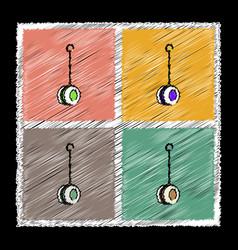 Set of flat shading style icons yo yo toy vector