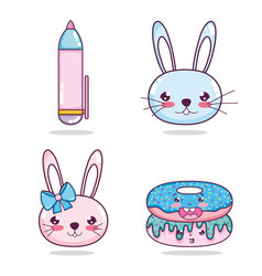 Set of kawaii cartoons vector
