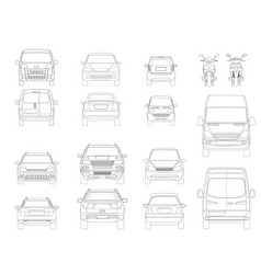 set of outline icons cars view of the side vector image