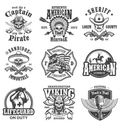 Set of vintage lifestyle emblems vector image