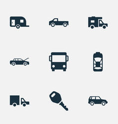 set simple auto icons vector image