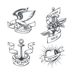 set tattoo emblems vector image