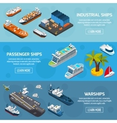 Ships Boats Vessels Isometric Banners Set vector image