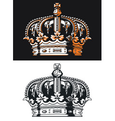 Silhouette victorian crown isolated vector