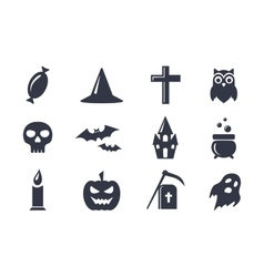 Simple icons set for halloween vector