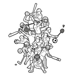 Sports mix sport players action cartoon graphic vector