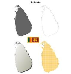 Sri Lanka blank outline map set vector