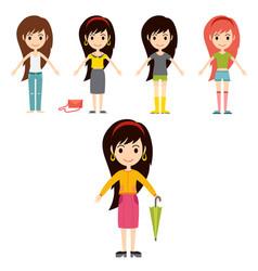 Street fashion girls models wear style fashionable vector