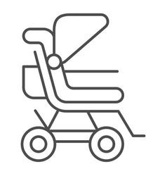 Stroller thin line icon bapushchair vector